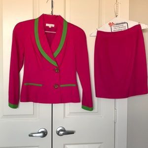 Ann Taylor pink green skirt suit size 2